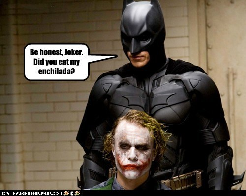 batman bruce wayne christian bale eating enchilada heath ledger the joker where is it