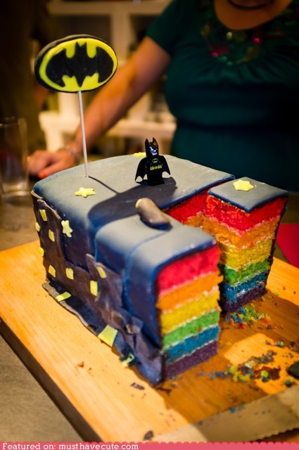 batman,cake,epicute,fondant,layers,lego,rainbow