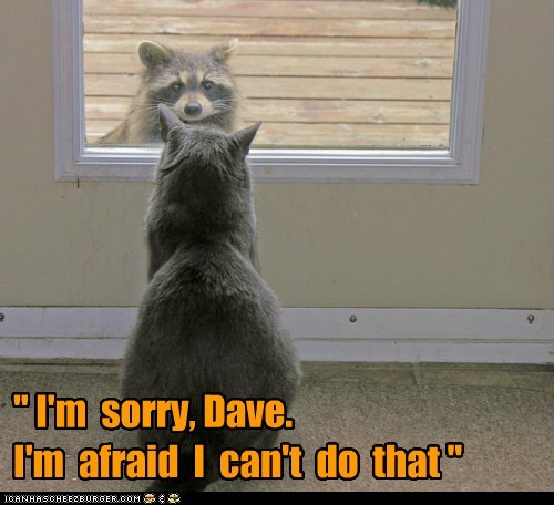 """ I'm sorry, Dave. I'm afraid I can't do that """