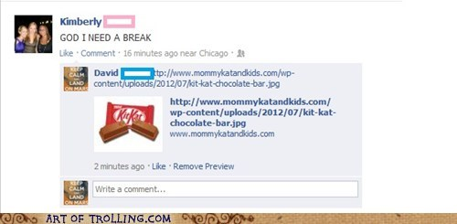 break,facebook,kit kat