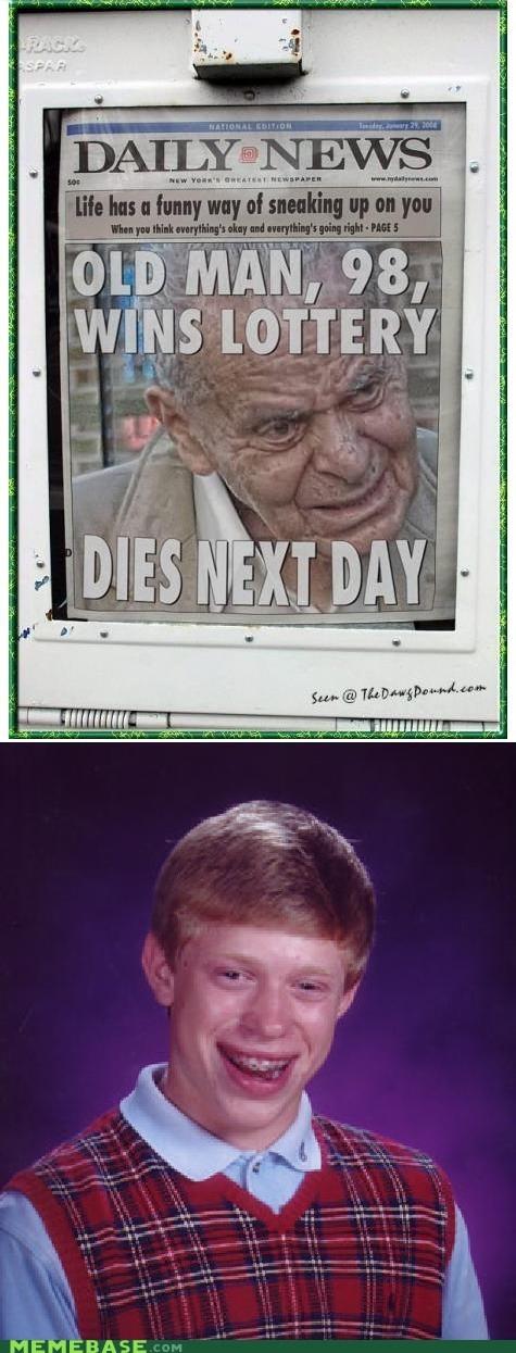 alanis morissette,bad luck brian,ironic,lottery,Memes,old man