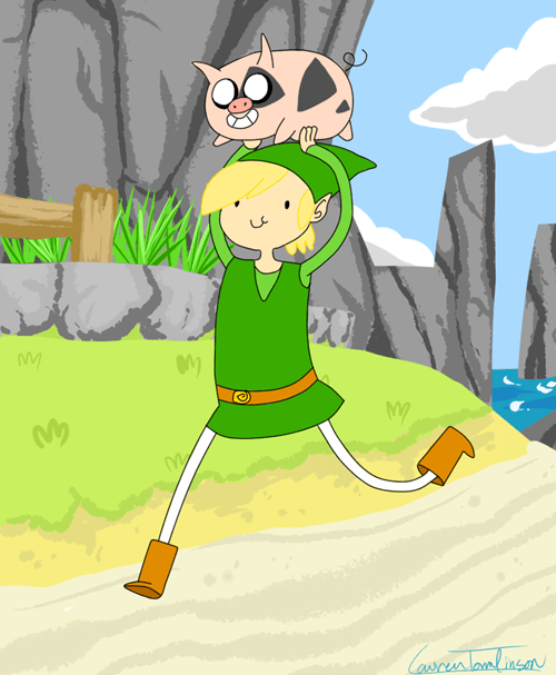 adventure time,cartoons,crossover,Fan Art,legend of zelda