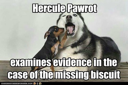 Hercule Pawrot examines evidence in the case of the missing biscuit
