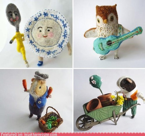 dish,fairy tales,felted,Owl,spoon,whimsical