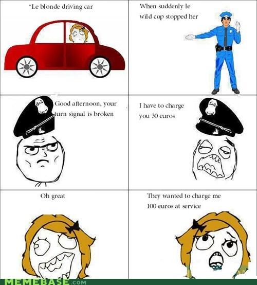 car driving Rage Comics ticket
