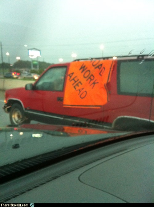 car fail car fix construction sign orange sign road work ahead - 6507641600