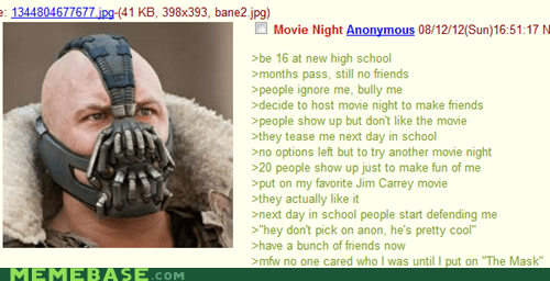 4chan,bane,batman,puns,Text Stuffs,the mask