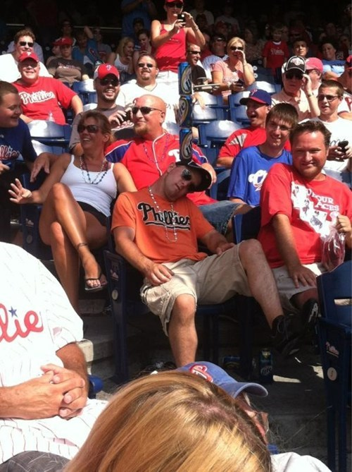 get your head in the game,passed-out phillies fan,phillies fans
