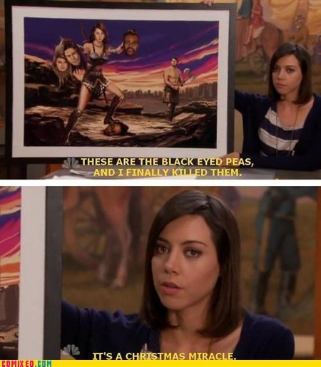 black-eyed peas christmas miracle painting parks and rec TV wtf - 6507766016