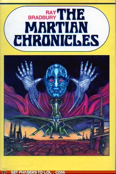 alien,book covers,bookcase,books,cover art,ray bradbury,science fiction,the martian chronicles,wtf
