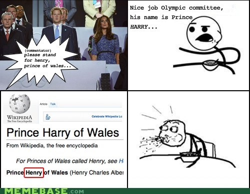 cereal guy,London 2012,olympics,Prince Harry,prince henry,Rage Comics