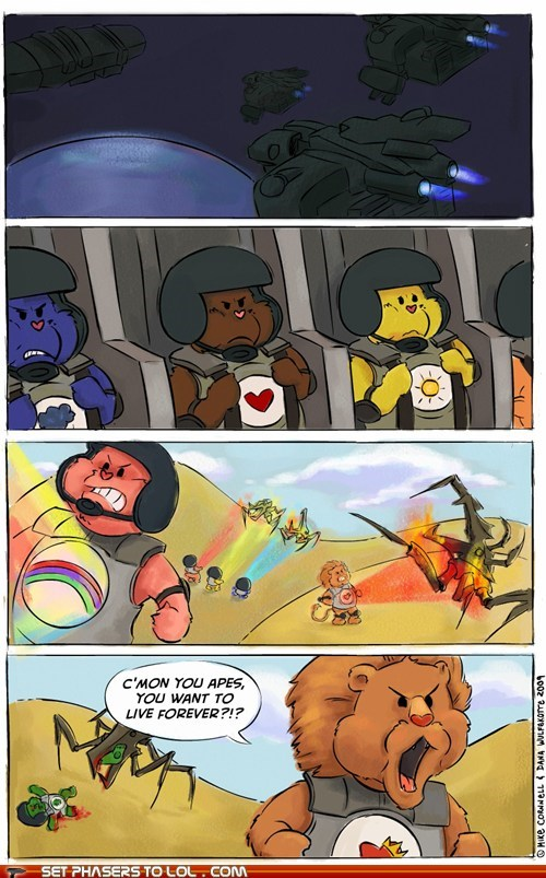 bugs,carebears,comic,mashup,robert a heinlein,starship troopers