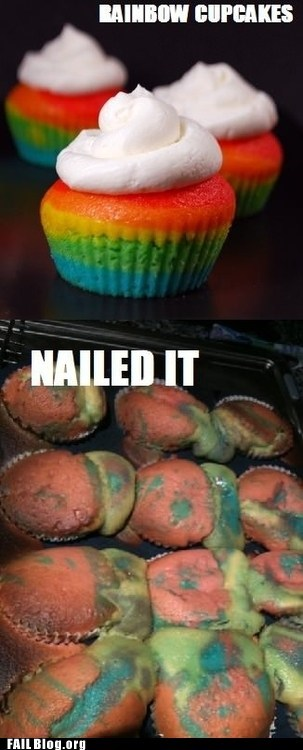 baking cake cupcakes Nailed It rainbow