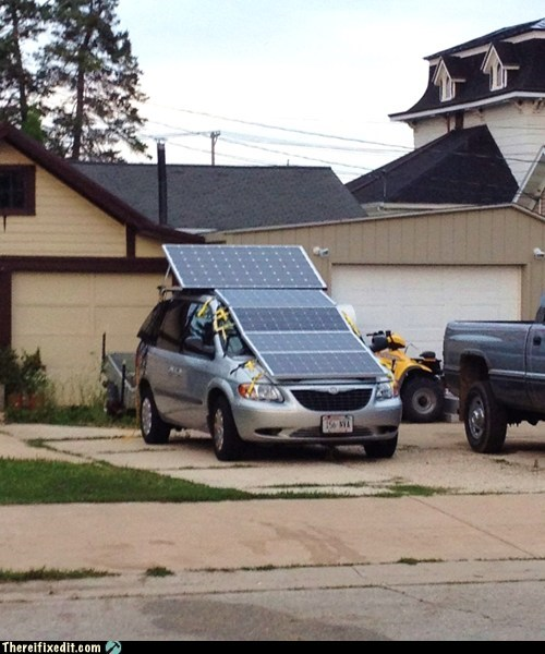 car green energy hybrid minivan solar panel solar power