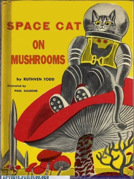 bedtime story,Mushrooms,shrooms,space cat,space cat on mushrooms