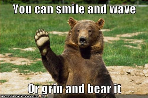bear choice grin pun resigned smile wave waving