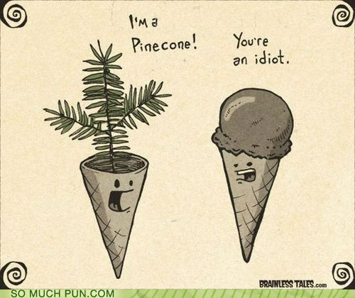 cone,double meaning,ice cream cone,literalism,pine,pinecone
