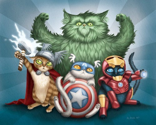 art,avengers,captain america,Cats,hulk,illustrations,iron man,The Avengers,Thor