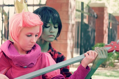 cartoons,cosplay,marshall lee,prince bubblegum