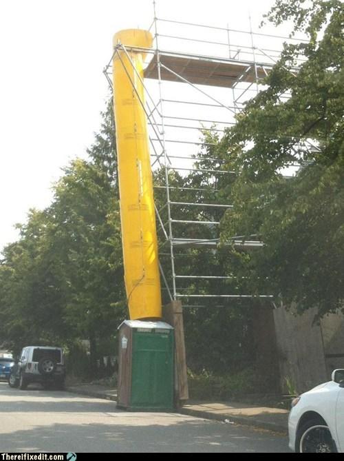 chute dump honey bucket outhouse scaffolding slide yellow chute - 6508470528
