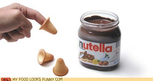cones,cookies,dip,fingers,nutella,weird