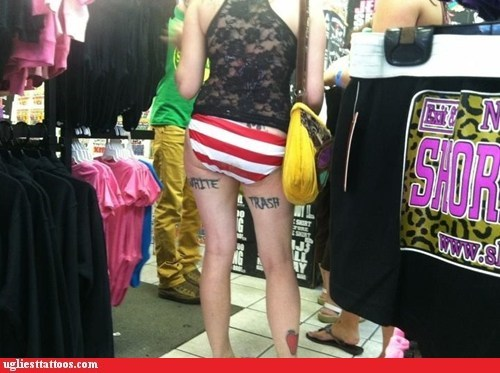 thigh tattoos,white trash