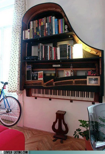 art,bookcase,books,hang,piano,shelves