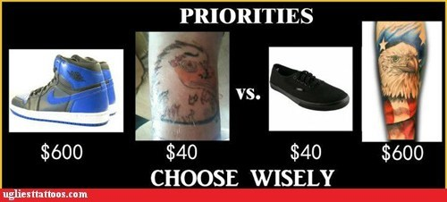prioritize,shoes,tattoos