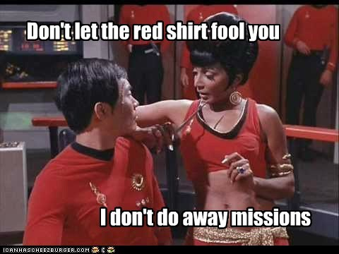 away mission fool george takei mirror mirror Nichelle Nichols red shirt Star Trek sulu uhura - 6509431552