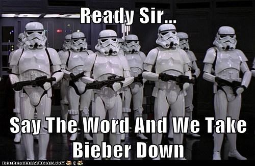 aiming Bieber say the word star wars stormtrooper