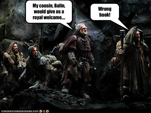 book confusion cousin dwarves Lord of the Rings The Hobbit wrong - 6509816832