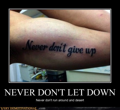 double negative,hilarious,rick roll,tattoo
