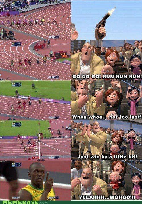 Memes olympics pixar the incredibles usain bolt