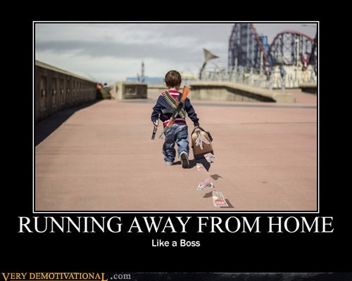 guns,kid,Like a Boss,running away