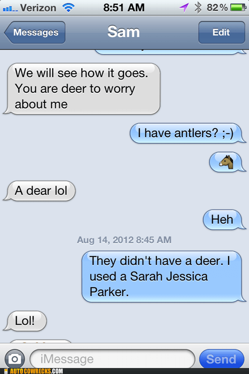 antlers,horse jokes,horses,How deer you,iPhones,sarah jessica parker