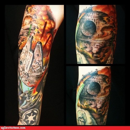 arm tattoos Death Star g rated star wars Ugliest Tattoos - 6510884352