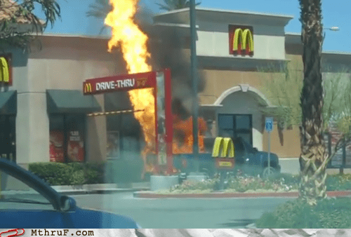 drive thru,fire,McDonald's,truck