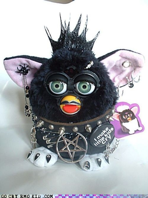 black crying emo furby goth scary toys - 6510931456