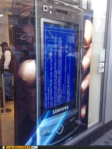 blue screen of death,doesnt-bode-well,Samsung
