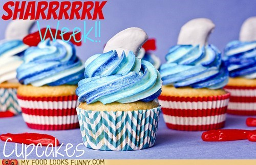 Blood cupcakes frosting fruit filling shark week waves