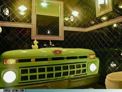 bathroom ford grille headlights hood sink truck