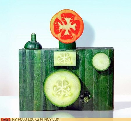 art,camera,cucumber,flash,tomato