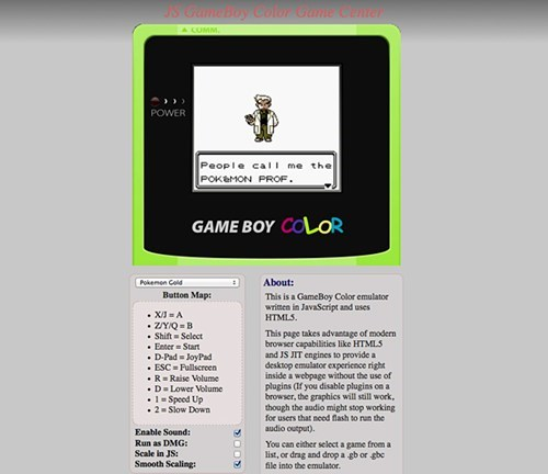 browser based,emulators,game boy color,nintendo,Pokémon