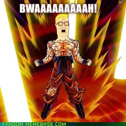 cartoons,crossover,Dragon Ball Z,goku,hank hill,It Came From the,It Came From the Interwebz,King of the hill