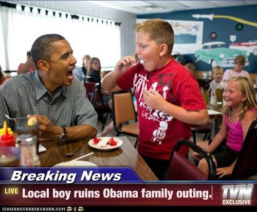 barack obama,eating,family outing,kid,ruined,yelling