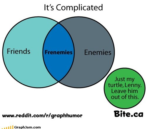 frenemies,friends,its complicated,mean girls,turtle,venn diagram
