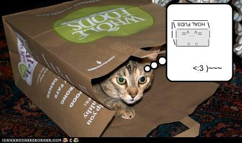 bag captions Cats mouse plan plot Unicode whole foods - 6513749248