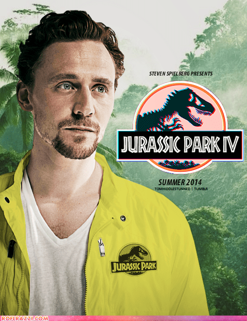 actor,celeb,funny,jurassic park,Movie,poster,shoop,steven spielberg,tom hiddleston