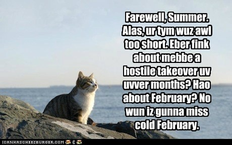 Farewell, Summer. Alas, ur tym wuz awl too short. Eber fink about mebbe a hostile takeover uv uvver months? Hao about February? No wun iz gunna miss cold February.