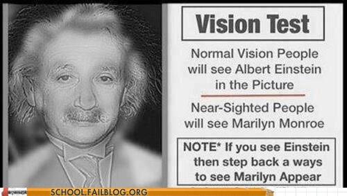 cool,einstein,marilyn monroe,optical illusions,vision test